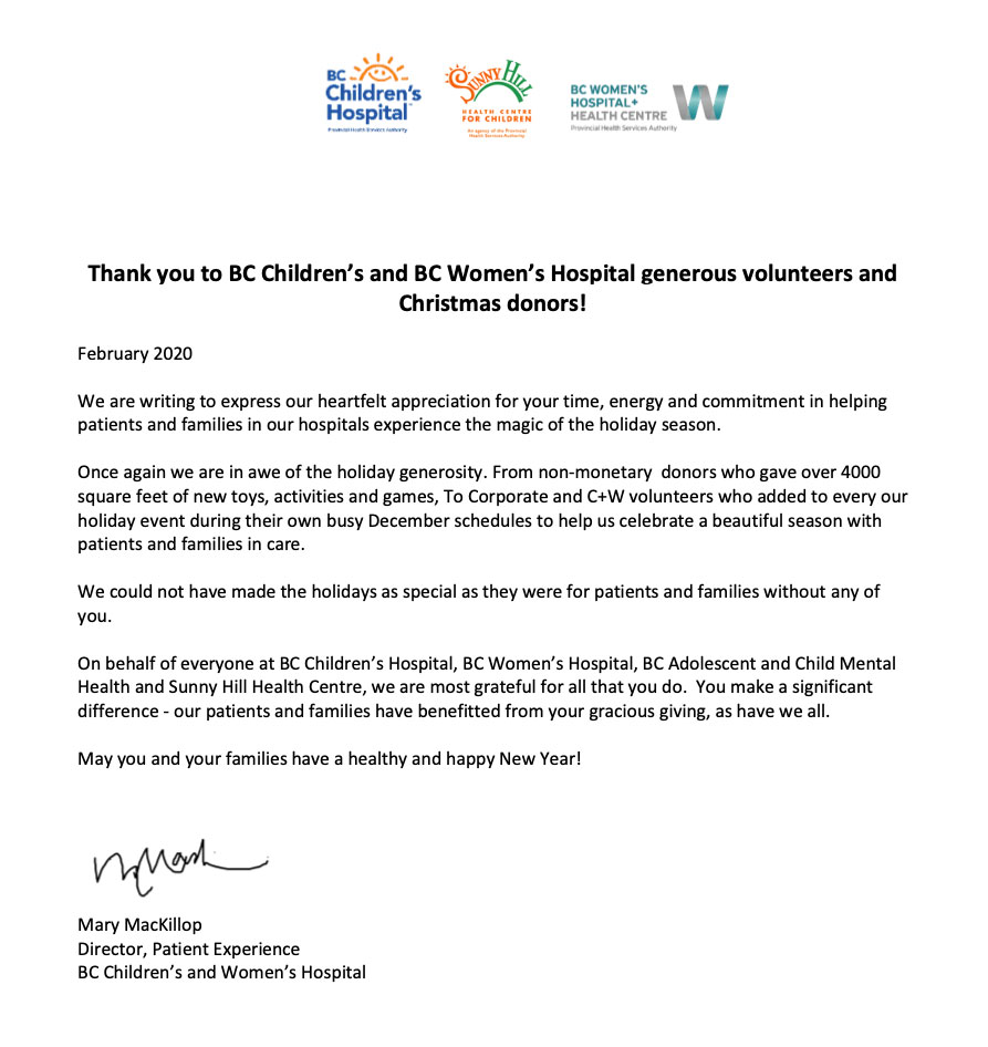 Thank You Letter From Bc Children S And Women S Hospital Camgara Dental Group
